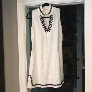 Sail To Sable - White linen dress with Navy